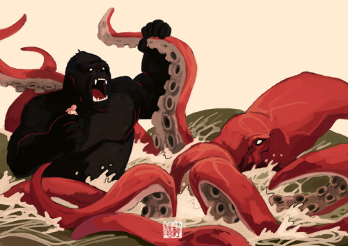 K for King Kong VS Kraken by *takeru-san