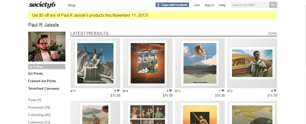 Society6 is once again offering free shipping on all art prints ordered by Sunday, February 24th.