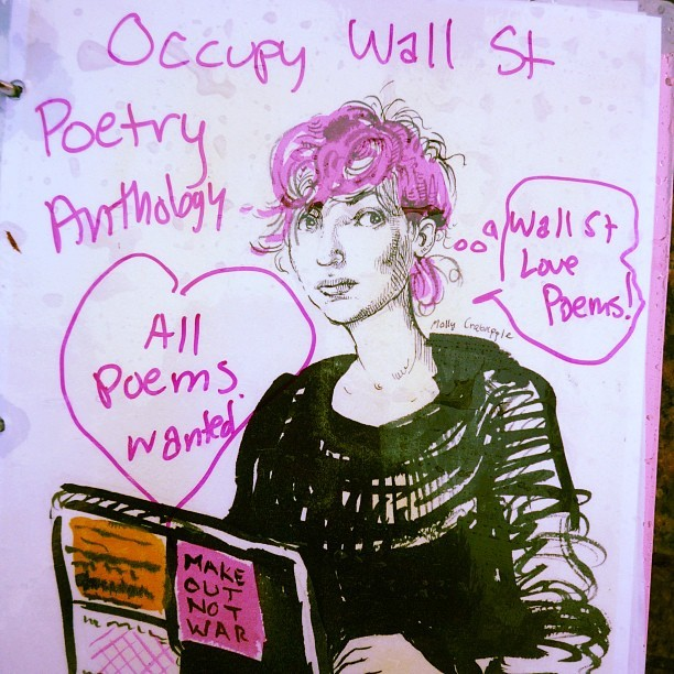 penny-red:  OWS Library poetry book. Someone just sent me a photo of the drawing @mollycrabapple did of me, that got used for the cover, left out in the rain at Zucotti Park, and just resurfaced. <3 #ows