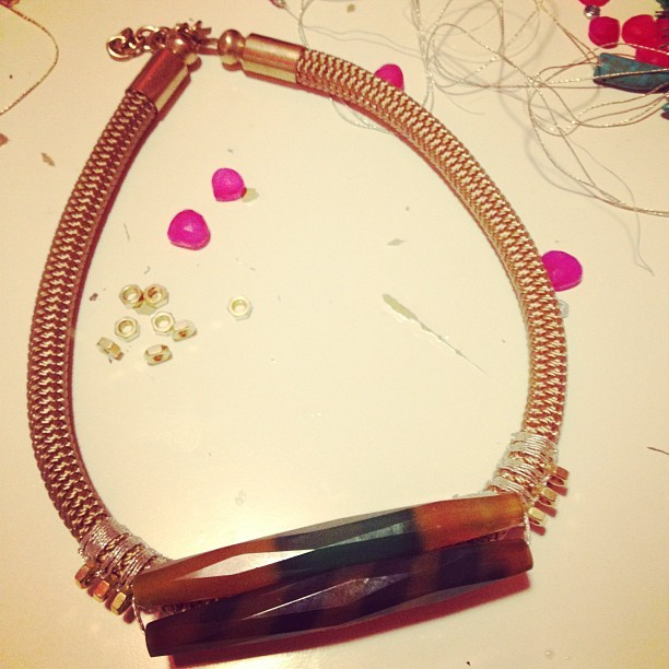 Working on something new.. #anve_milano #bolts #cords #rocks #jewelry #accessorise #necklace #love #loveit #art #fashion #igers #igersitalia #milano #italy