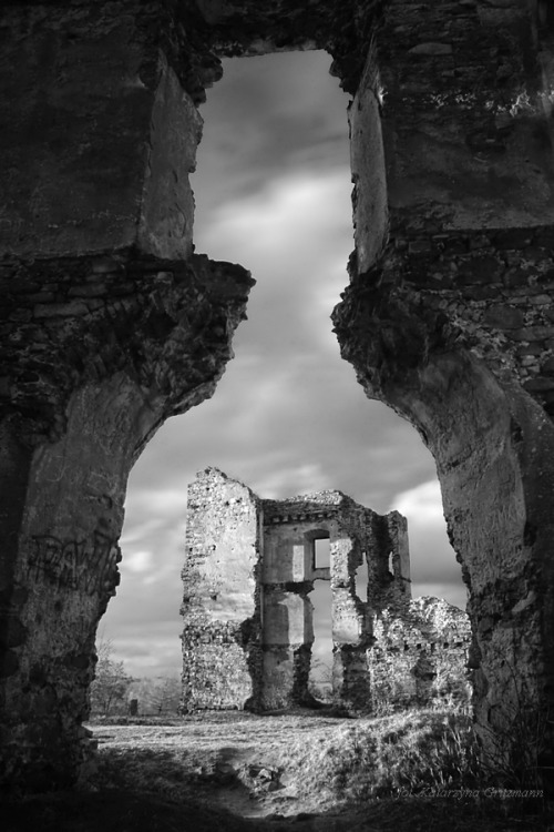 exclusionzone:  Bodzentyn. I love ruins. I build them up in my head.  When I see old, stones steps worn down by thousands of feet I imagine who once walked there.