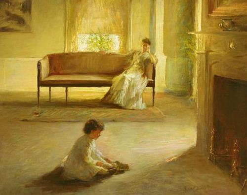 stilllifequickheart:  Edmund Charles Tarbell Interior with Mother and Child Late 19th - early 20th century