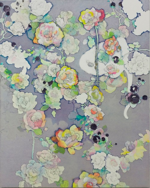 iamjapanese:  SOMEYA Yuko(染谷 悠子 Japanese, b.1980) I am Afraid Time Comes When Roses to Wither(details)  2010 watercolor, pencil, lithograph ink, japanese paper on canvas mounted on wood panel    © Yuko Someya  details