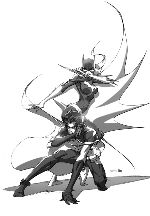 dcnationfans:  sam-liu:  Batgirl and Robin. Loosely based off of Phil Bourassa's Young Justice designs.  Guys. The Spectacular Sam Liu has joined tumblr! Please give him a warm welcome! Sam, has brought us many DC Animated Titles, Directed episodes of GLTAS, and He's Directing the upcoming BEWARE THE BATMAN! Show the man some love! Follow Sam!