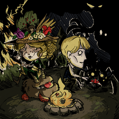 Don't Starve - Destructive but Durable Duo Flick and Nath in Don't Starve style as I continue to feed my addiction to the game. The pair would likely cause lots of trouble but both work well in unstable moments and under pressure so they'd probably make it, at the expense of whoever they met. By the way I am open for commissions in this style, shoot me an ask for info!