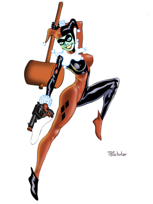asylum-countess:  claymoreart:  Harley Quin Colored by *TijuanaBibleScholar  idk why her face is green but this is lovely