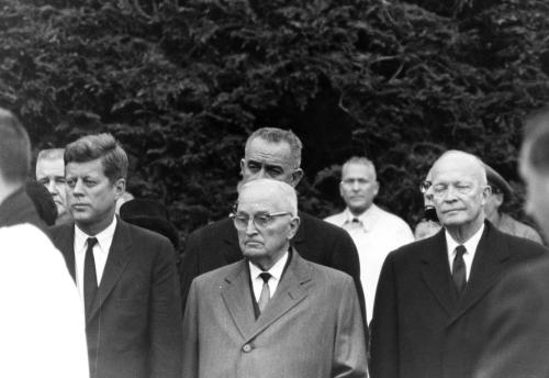 4 presidents at the funeral of Eleanor Roosevelt.  Hyde Park, NY.  1962.