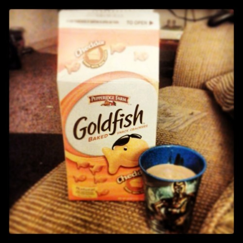 I have an entire c carton of goldfish!  And chocolate milk. In a Star Wars cup.  Because dinner.