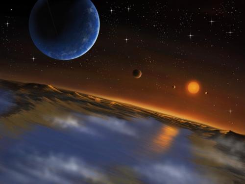 "Has Kepler Found Ideal SETI-target Planets?  Mountain View: NASA's Kepler mission has discovered a new planetary system that is home to five small planets around a slightly smaller star than our Sun. Two of them are super-Earth planets, most likely made of rock or ice mixed with rock, which are located in the habitable zone of their host star. This discovery is providing a target for the SETI search, since if life has thrived on these worlds and reached a point where civilization has developed complex technology, it may be detectable.  When the NASA Kepler mission was launched on March 9, 2007, the Delta II rocket was carrying the hope of a large community of scientists who dedicate their work to studying extra-solar planets, planets in orbit around other stars. The Kepler mission's main scientific objective is exploration of the structure and diversity of planetary systems. It accomplishes this goal by staring almost constantly at a large field composed of about 150,000 stars to detect small dips in brightness due to the transits of a planet.  Kepler has already been a successful NASA mission with the discovery of 2,740 planet candidates with estimated sizes from Mercury to larger than Jupiter. A fifth of these planet candidates are also called ""super-Earths"", a new class of planets, without analog in our solar system, with a radius between 1.25 to 2 times the radius of our planet.   Today, in a scientific article published in Science magazine and through a NASA press conference, the Kepler team announced the discovery of a multiple planet system, composed of 5 Earth-sized and super-Earth planets orbiting a K-type star.   The detection of these planets was indirect since Kepler astronomers observed the attenuation of the host star's brightness due to the passage of a planet in the line of sight, and not the planets themselves. The authenticity of this multiple planet system was confirmed by a statistical analysis based on previous detections of multiple planets by Kepler.  ""By estimating the rate of false-positives due the remote possibility of additional planet-hosting stars in the photometric aperture we have strong confidence that we have discovered two genuine transiting super-Earth planets in the habitable zone  of their host star.  Such calculations are only possible because of the thousands of additional transiting extrasolar planets that Kepler has discovered"" said Jason Rowe, Research Scientist at the Carl Sagan Center of the SETI Institute and co-author of the work   The outermost planet, named Kepler-62f (radius about 1.4 times Earth's radius and a period of 267 Earth days) is located in the habitable zone of the star, a region around the star where a rocky planet with an atmosphere similar to Earth could host liquid water on its surface. The team expanded the definition of the Habitable Zone by taking into account the evolution of the brightness of the host star. Their calculations suggest that Kepler-62e (radius about 1.6 times Earth's radius and a period of 122 Earth days) was also in the habitable zone so that liquid water could have existed on its surface, too.   Similar to Venus and Mars that are believed to have lost their surface water 1 billion years and 3.8 billion years ago respectively, before our sun was more luminous, the host star's habitable zone was broader in the past. The Kepler team's calculations suggest that Kepler-62e (radius about 1.6 times Earth's radius and a period of 122 Earth days) is also in the habitable zone so that liquid water could exist on its surface, too.   ""These discoveries move us farther down the road to discovering planets similar to Earth. While we don't know if Kepler-62e and f are rocky or whether they have liquid water pooling on their surfaces, their existence shows that the incidence of small worlds in the habitable zone of sun-like stars is high. Thus we can look forward to the discovery and detailed characterization of Earth's cousins in the years and decades to come by future missions and telescopes."" said Jon Jenkins Senior Scientist at the Carl Sagan Center of the SETI Institute and also co-author of the work.  Both Goldilocks planets' masses remain unknown since they are too small to produce detectable gravitational effects on the host star and between themselves. However, considering a lower upper limit for their mass and the age of the star, estimated to be 7 billion years, the team suggests that both planets are solid and either made of a dry rocky material, like Earth, or a large body of water surrounding a core of iron and rock (a water world).  Kepler discoveries are an amazing opportunity to focus the search for technosignatures conducted at the Center for SETI Research led by Gerry Harp. Kepler provides the detection of exoworlds that could host water on their surfaces and potentially life. Unfortunately, the planets of the Kepler-62 system are too distant (850 light-years from Earth) to be fully characterized, and no direct measurement of their atmospheric composition is possible with current technologies.  ""Since December of 2011, the SonATA program to search for extraterrestrial intelligence with the Allen Telescope Array has been focusing on the Kepler exoplanet candidates and especially those planets expected to be within the ""Habitable Zone"" of their stars. Our surveys improve on previous, generally narrowband SETI by covering the radio frequency range where Earth's atmosphere is most transparent, including many frequencies never before observed. We expect to complete a meaningful survey of these stars in less than 1 year — be sure to check back soon."" says Gerry Harp, Director of the Center for SETI Research.  image: An artistic view of the system seen from Kepler-62f. The host star is slightly redder than our sun. The smaller exoplanets Kepler-62b (1.3 times Earth's radius) & Kepler-62c (0.5 times Earth's radius) are close to the star. Kepler-62d (2 times Earth's radius) is significantly bigger and closer, Kepler-62e (1.6 times Earth's radius) & Kepler-62f (1.4 times Earth's radius) are relatively close to each other and both are sustaining water and rocky surface as suggested by the clouds' color, water, atmosphere and rocks credit: Danielle Futselaar/SETI Institute  Stay Curious! 