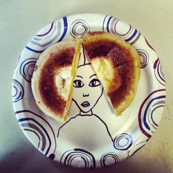Princess Leia Grilled Cheese Bagel