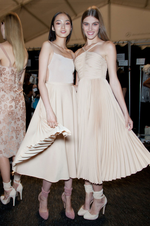 oncethingslookup:  Xiao Wen Ju and Madison Headrick backstage at Jill Stuart Spring 2013 RTW