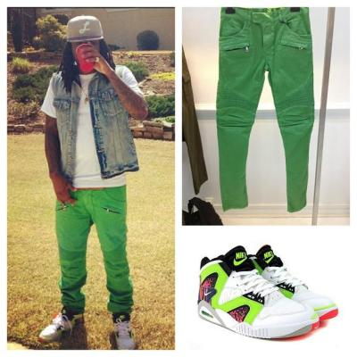 Celebrity Instagrams: Wale Wearing Lime Green Balmain Jeans with Nike Air Tech Challenge Hybrids The MMG rapper posted pictures to instagram sporting the classic Nike Air Tech Challenge Hybrids in White/Volt-Hot Lava. Paired with a denim vest layered over a white tee-shirt and lime green Balmain jeans,  Wale continues to prove that while seasons change, some sneakers will always be timeless. (Read More on HauteChicago.Com)
