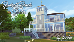 "Budget Beach Starter This is another starter for Brindleton Bay, inspired by coastal beach houses. It's very sparsely furnished (and a bit blah-looking from the back ;-p), but it does have all the basics. There's only one bedroom as built, but you could easily add a wall to create a second bedroom upstairs if you can afford it. Feel free to edit and expand as you wish!Note - for the Gallery/Library pic, I flipped the house around. I would recommend rotating the lot back like in my screenshots so that the porch faces the beach (much better views from the big windows that way!).CC-free  Lot size: 20x20  Cost: §18,472  Lot Location: ""Bedlington Boathouse"" in Brindleton Bay  Required Packs:  EPs - Get Together, City Living, Cats and Dogs GPs - Outdoor Retreat, Dine Out, Parenthood To install, download the ZIP file from the link below. Extract the folder and copy its contents (there should be 8 files total) into your My Documents/Electronic Arts/The Sims 4/Tray folder.   DOWNLOAD ZIP file (SimFileShare)**If you don't want to install it using the Tray files, you can also find it in the Gallery under #jenba and Origin ID silrosse.Enjoy!"