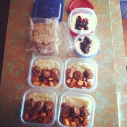 #monday #meal #prep! 💪😎 #week 2 #menu:   ✔ #breakfast: #peanutbutter & #banana 🍌 #sandwich w/ #raisin #ezekiel #bread  ✔ #snack: side of #cottagecheese w/ #berries 🍓 ✔ #lunch: #turkey #meatballs accompanied by #brownrice & #cinnamon #nutmeg #agave #roasted #sweetpotatoes   ✔ #Postworkout #Dinner: TBA!   Going to jot down #weight, #inches, & take #before #picutes 📷💥 #motivated #excited 👏 #eatclean #playdirty #exercise #weights #trx #spin #hulahoop #getsome #boom #fitmencook #mealprep @christine_eclavea your meal prep was awesome! Inspired me! xo
