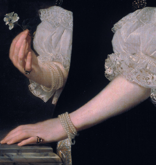 detailsofpaintings:  Abraham van den Tempel, Portrait of a woman  17th century
