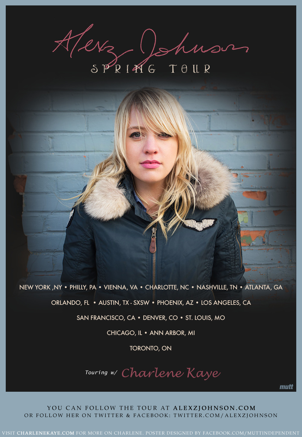 SPRING TOUR ANNOUNCEMENT: Alexz Johnson will tour US/Canada this spring with Charlene Kaye - featuring Misty Boyce & Jay Stolar