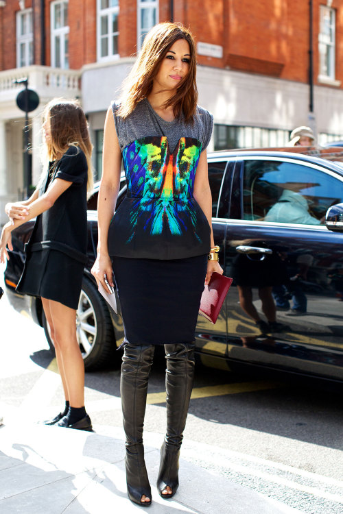 fashion-boots:  Christine Centenera wearing a Josh Goot top, a Lanvin skirt and Celine bracelets