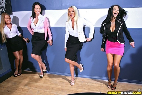Big tits mini skirt