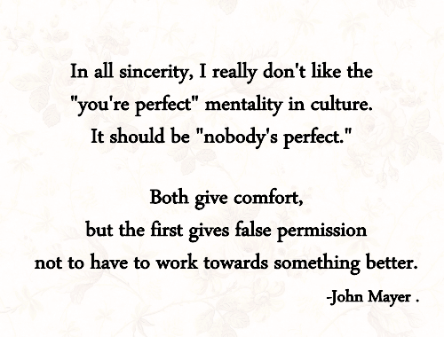 Because it's been awhile since I last post a John Mayer.. something to think about today: nobody's perfect.