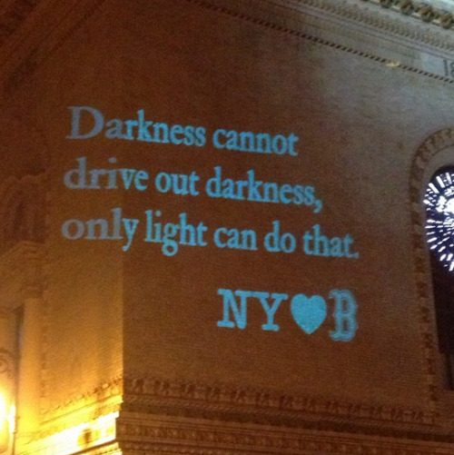 @michaelhayes A message from New York to Boston projected on Brooklyn Academy of Music.