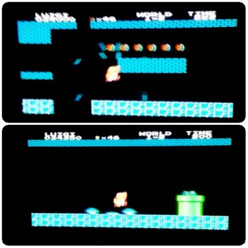 Playing Super Mario with sis @maryooma_97 ♥