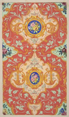 f-featherbrain:  Jules-Edmond-Charles Lachaise   Design for wallpaper featuring strapwork, rinceaux, and cartouches filled with bouquets of roses 1830-97 (via: the metropolitan museum of art)
