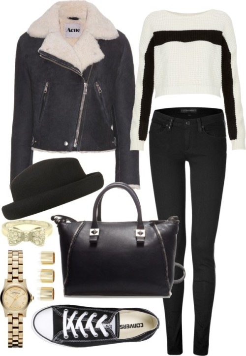 Concert by ieleanorcalderstyle featuring a bow ringTopshop  sweater / Acne  jacket / Juicy Couture skinny fit jeans / Converse  shoes, $72 / Zara zip bag / Marc by Marc Jacobs  / Bow ring / River Island metal ring, $15 / Topshop