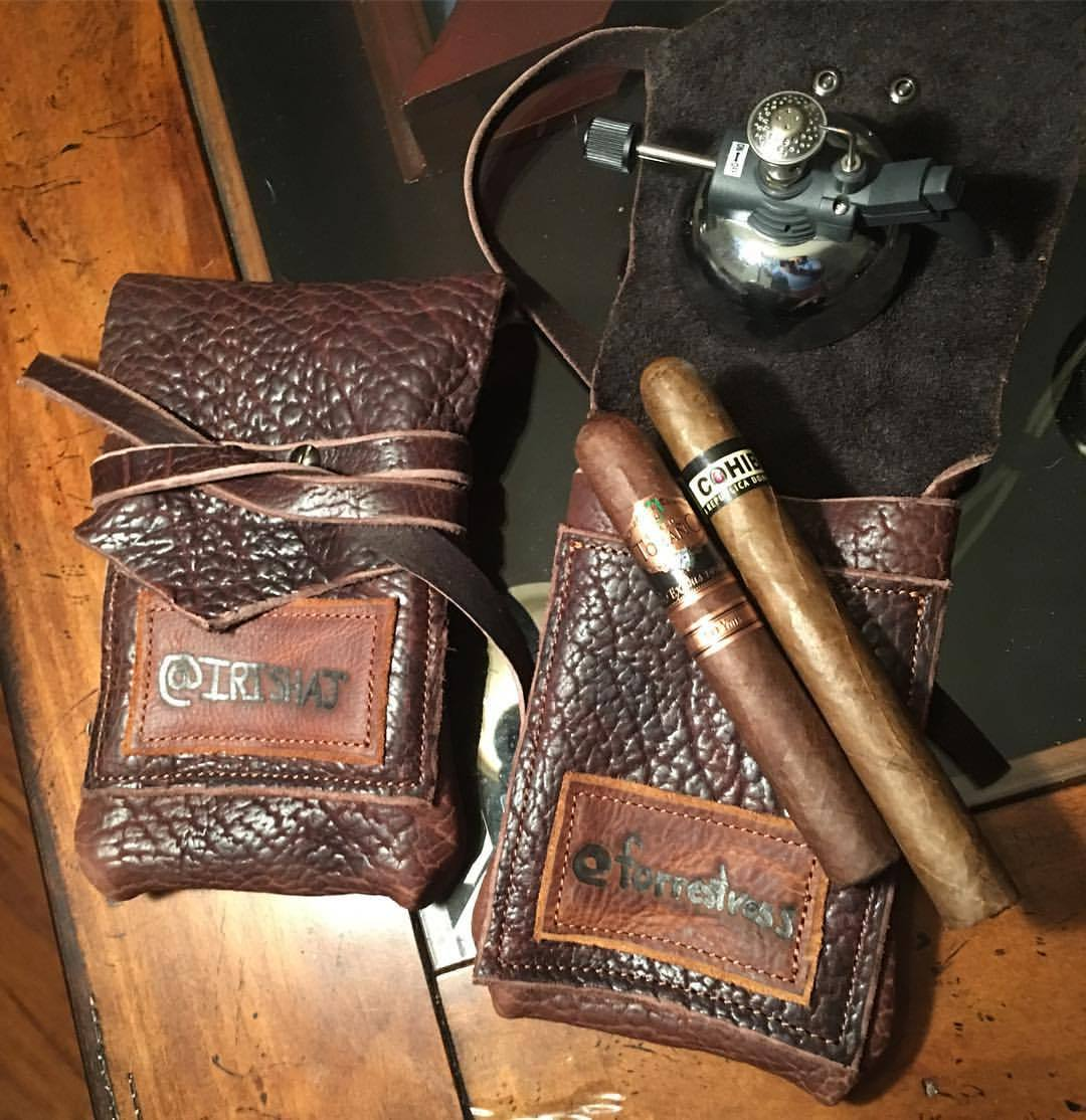 Two ruggedly beautiful thick, premium American bison leather cigar ���� carriers heading out to a couple of IG bros, @irishaj and @forrestvess I hand cut these and sew with a durable, bonded nylon thread for heirloom quality. I cut premium cowhide...