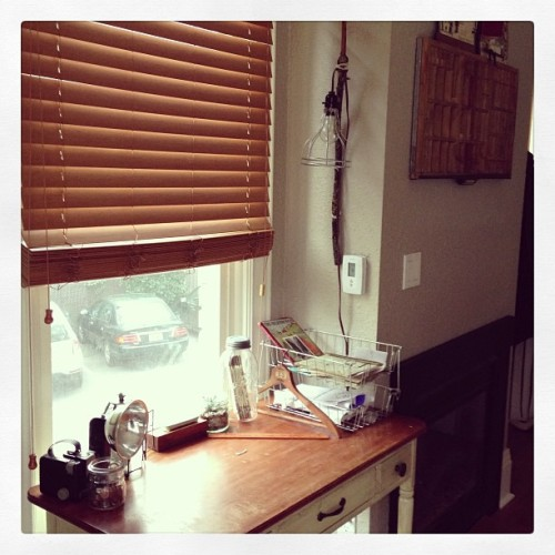 Desk+new lamp. #handmade #crafts #vintage  #apartment #seattle #decorating #design  (at Hogwarts School of Witchcraft and Wizardry)