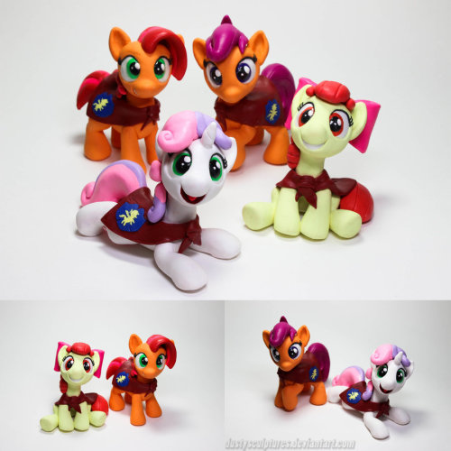 dustysculptures:  CutieMark Crusaders are GO!   Each pony is for sale for $50+shipping~  However all 4 of them are for sale together** for $179 + Free shipping within the US (International is calculated) If you'd like to purchase her please send me a note or email (dusty29100@gmail.com) from you with your name, payment method, and I'll get back to you asap~  No need to be formal just a list is okay and I will accept any questions as well. Anyone without the requirements will not be eligible.  If you're selected I'll reply back asking for your name and address, also with my own payment info. Upon completion of the transaction, I'll send it to you (either the next day or the same day depending on how late it is)   **I will accept both single purchase and bulk purchase messages, but for this weekend only, the bulk purchase messages will have priority. Any order made on or after Monday, I will then consider single CMC purchases in which case it will be first come first serve as normal.   Thats it! Thanks in advanced!~
