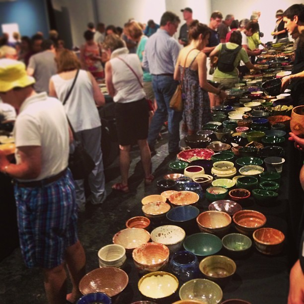 Every year Houston ceramists and woodturners donate work in support of Empty Bowls, a grassroots organization dedicated to helping feed Houston's hungry.    In exchange for a $25 donation, visitors can pick a bowl and enjoy a delicious cup of soup. All proceeds benefit Houston Food Bank, which can provide a day's worth of food to twenty-five people for every donation they receive.   HUGE thanks to everyone who came out to make this year one of the most successful Empty Bowls ever! (And of course thanks to @CraftHouston for once again hosting us!) This year artists from all over the city donated over 1,500 bowls, almost all of which found a new home yesterday. We can't wait to see y'all next year! #EmptyBowlsHou #latergram