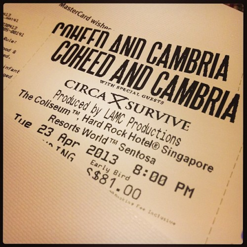 it's on babe. @emikay :) #coheedandcambria #circasurvive #photoaday #music #anthonygreen #fanboymodeon #tuesday