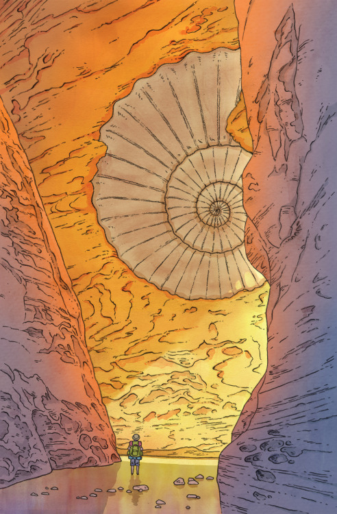 rakurakukakikaki:  Ammonite Canyon, my piece for Light Grey Art Lab's Macro & Micro show, opening tomorrow and featuring artwork from 90+ artists! The theme was the natural world and I was in the mineral category. You can see all of the fantastic other pieces (and purchase prints if you're so inclined) at LGAL's website: http://lightgreyartlab.com/macro-micro/
