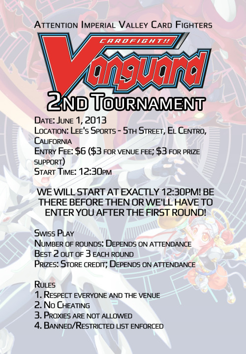 Card Fight Vanguard Flyer for the second tournament!
