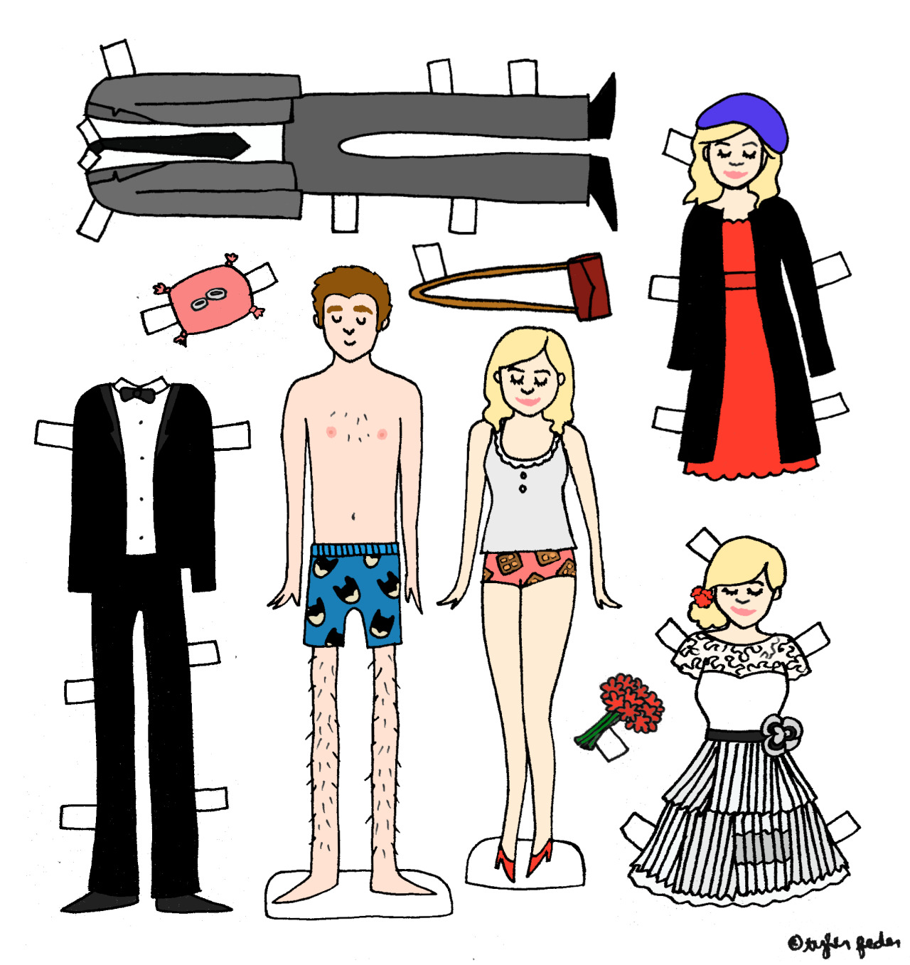 "Parks and Recreation wedding paperdolls for missrachelsf! (by Tyler Feder) * Hey tumblr pals!  Want some of my art to hang on your wall?  Support my Etsy shop!  If you mention the secret password ""toothpaste"" in the Notes to Seller section, I'll throw in a free surprise 5x7 print with your order!"
