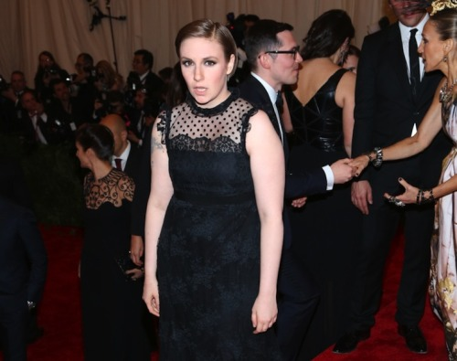 Can We Talk About Lena Dunham's Weird Expression In These Photos Of Her At The Met Ball For A Second?