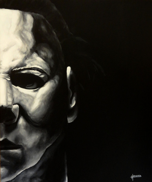 'Death Has Come to Your Small Town, Sheriff' - Michael Myers - #6 in my Movie Icons painting series. www.facebook.com/artbyleehoward