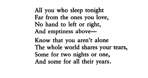 "aseaofquotes:  Vikram Seth, ""All You Who Sleep Tonight"""