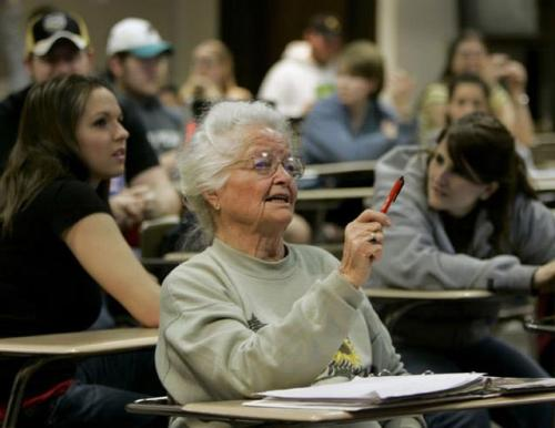 "mrmoderngentleman:   michiamocristina:   An 87 Year Old College Student Named Rose The first day of school our professor introduced himself and challenged us to get to know someone we didn't already know.  I stood up to look around when a gentle hand touched my shoulder. I turned round to find a wrinkled, little old lady beaming up at me  with a smile that lit up her entire being.  She said, ""Hi handsome. My name is Rose. I'm eighty-seven years old. Can I give you a hug?"" I laughed and enthusiastically responded, ""Of course you may!"" and she gave me a giant squeeze.  ""Why are you in college at such a young, innocent age?"" I asked. She jokingly replied, ""I'm here to meet a rich husband, get married, and have a couple of kids…"" ""No seriously,"" I asked. I was curious what may have motivated her to be taking on this challenge at her age. ""I always dreamed of having a college education and now I'm getting one!"" she told me. After class we walked to the student union building and shared a chocolate milkshake.We became instant friends. Every day for the  next three months, we would leave class together and talk nonstop. I was always mesmerized listening to this ""time machine""  as she shared her wisdom and experience with me.  Over the course of the year, Rose became a campus icon and she easily made friends wherever she went. She loved to dress up and  she reveled in the attention bestowed upon her from the other students. She was living it up.  At the end of the semester we invited Rose to speak at our football banquet. I'll never forget what she taught us. She was  introduced and stepped up to the podium. As she began to deliver her prepared speech, she dropped her three by five cards on the floor. Frustrated and a little embarrassed she leaned into the microphone and simply said, ""I'm sorry I'm so jittery. I gave up beer for Lent and this whiskey is killing me! I'll never get my speech back in order so let me just tell  you what I know."" As we laughed she cleared her throat and began, ""We do not stop playing because we are old; we grow old because we stop  playing. There are only four secrets to staying young, being happy, and achieving success. You have to laugh and find humor every day.  You've got to have a dream. When you lose your dreams, you die. We have so many people walking around who are dead and don't even know it!There is a huge difference between growing  older and growing up. If you are nineteen years old and lie in bed for one full year and don't do one productive thing, you will turn twenty years old. If I am eighty-seven years old and stay in bed for a year and never do anything I will turn eighty-eight.  Anybody can grow older. That doesn't take any talent or ability. The idea is to grow up by always finding opportunity in change.  Have no regrets. The elderly usually don't have regrets for what we did, but rather for things we did not do. The only people who fear death are those  with regrets."" She concluded her speech by courageously singing ""The Rose."" She challenged each of us to study the lyrics and live them out in our daily lives. At the year's end Rose finished the college degree she had begun all those years ago. One week after graduation Rose died  peacefully in her sleep. Over two thousand college students attended her funeral in tribute to the wonderful woman who taught by example that it's  never too late to be all you can possibly be .When you finish reading this, please send this peaceful word of advice to your friends and family, they'll really enjoy it! These words have been passed along in loving memory of ROSE. REMEMBER, GROWING OLDER IS MANDATORY. GROWING UP IS  OPTIONAL. We make a Living by what we get, We make a Life by what we give.   I read this with Betty White's voice. Nevertheless, this is very true. I should forget the word regret."