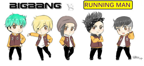 ygfanart:  BIGBANG VS RUNNING MAN by ~IDASWANZ
