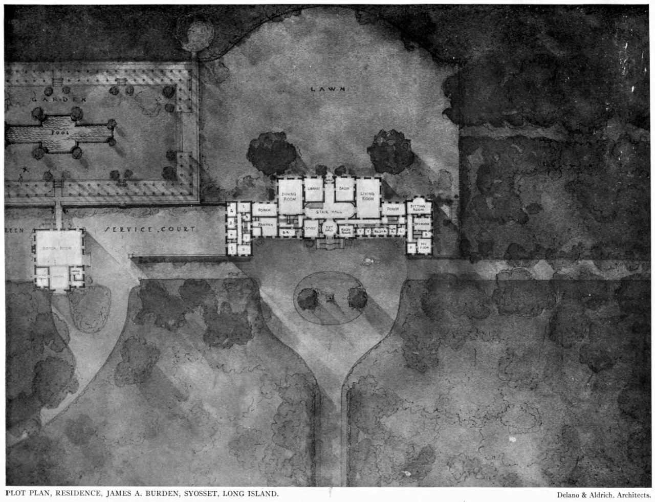 Plot plan of the Burden Residence, Syosset, Long Island