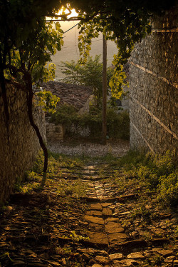 visitheworld:  Sunset on the old narrow streets of Berat, Albania (by keepwaddling1).