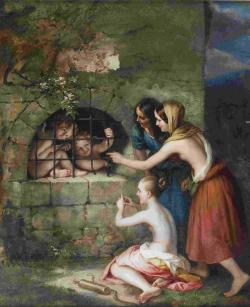 "artsandcrafts28:  Carl Begas - ""Three Girls Taunt the Captured Cupids"" unknown date"