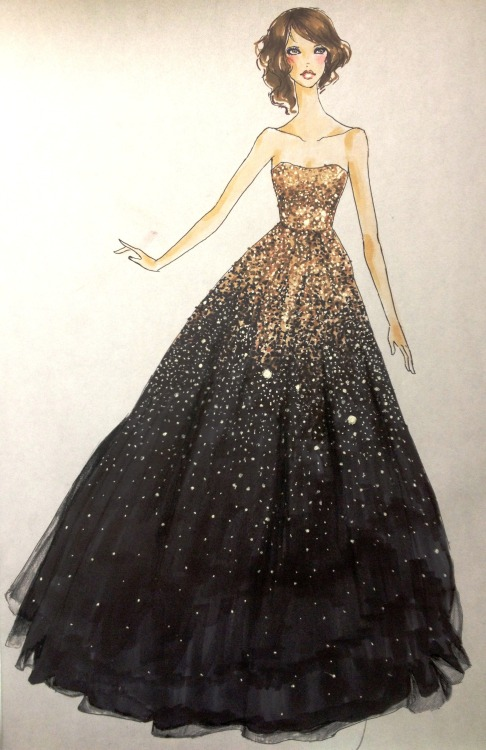 "anamatapia:  ""Chocolate night"" Gorgeous Marchesa gown that Olivia Wilde wore to the 2011 golden globes. I wish I had done this from the side angle though, so I could have gotten in the beautiful shape of the skirt and its train."