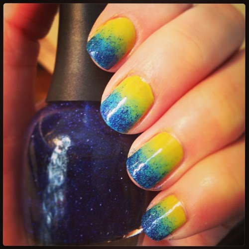 #Lime, #teal and #blueviolet #glitter #ombrenails #gradient #notd #nailart #nailpolish #juicy #opi #justgroovy #essence #limeup #fingerpaints #easelyentertained