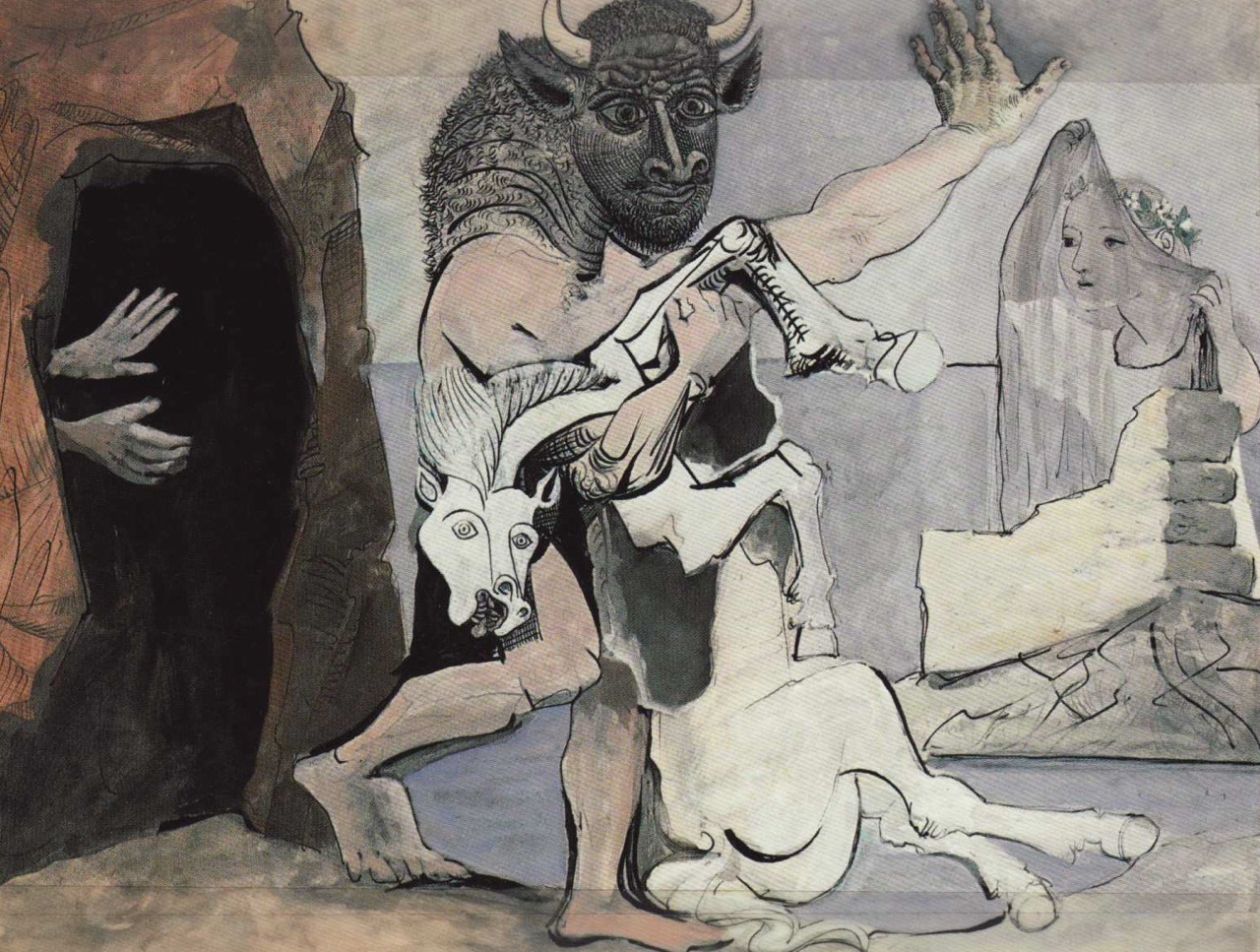 "euphemize:  arthistorybitch:  Pablo Picasso - Minotaur with Dead Mare in Front of a Cave, 1936 There are so many things I love about this I can't even  ""i can't even"""