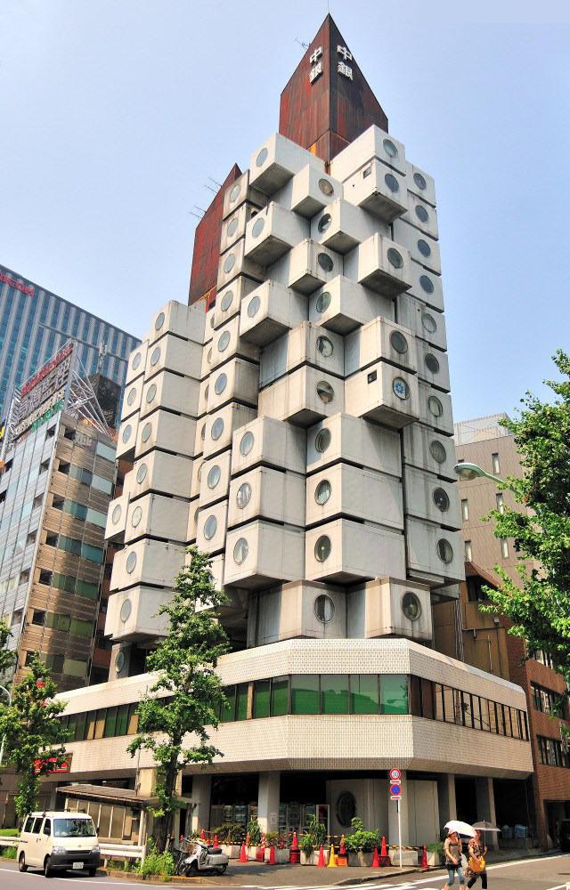 Japan tokyo architecture tower capsule kisho kurokawa for Architecture tokyo