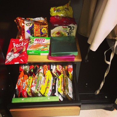 What you know about secret stash of ramen and pocky and mochi?#closet #standuplocker #barracks #asian #food #ramen #secret #stash #iaintsharing #navy #life