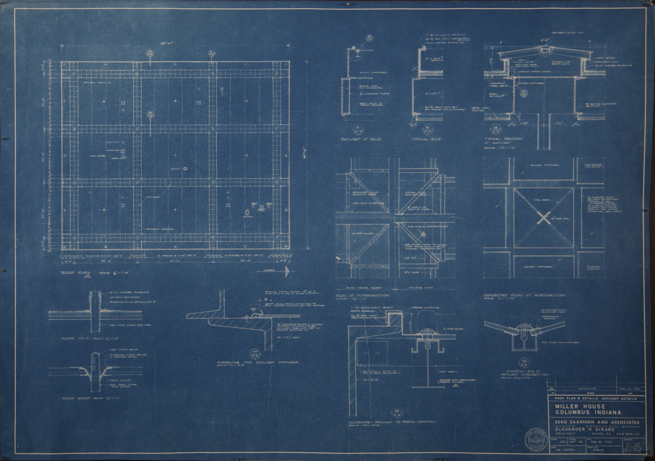 Blueprint (29 x 41 in.) of Sheet Number A-5, Miller House Roof Plan & Details and Skylight Details, Addendum #2 by Eero Saarinen and Associates and Alexander H. Girard, 26 April 1955, FF41, Miller House and Garden Collection, IMA Archives, Indianapolis Museum of Art, Indianapolis, Indiana. (MHG_III_FF041_010)