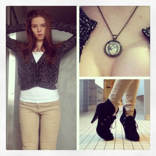 Today's outfit. Cardigan is Ann Taylor, cami and jeans from Express, boots are Charlotte Russe, and the necklace was given to me by my good friend @mcalmondjoy 😄 I look so young! #ootd #wiwt #winter #cold #anntaylor #express #charlotterusse #anatomy #heart #style #fierce #fashion #smize #boots #sweater #girl #chic #young